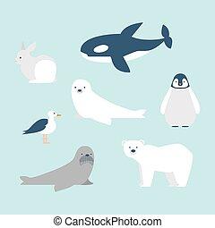 Arctic animals set - Set of seven arctic and antarctic...