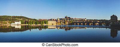 View of Prague castle over Vltava river