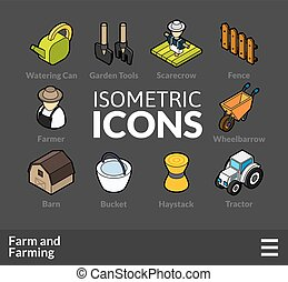 Isometric outline icons set 22 - Isometric outline icons, 3D...