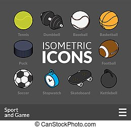 Isometric outline icons set 46 - Isometric outline icons, 3D...