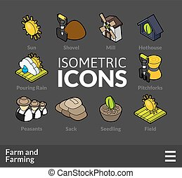 Isometric outline icons set 21 - Isometric outline icons, 3D...