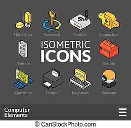Isometric outline icons set 4 - Isometric outline icons, 3D...