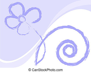 lilac flower drawn in chalk on a white background