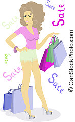 girl with bags - beautiful girl with shopping bags on sale