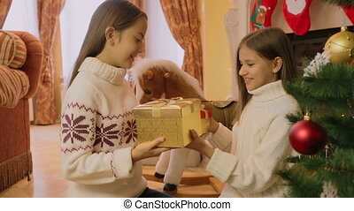 Two cheerful girls receiving Christmas gifts at morning