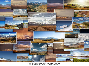 Mountains photo collage travel concept - Collage of...