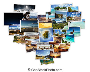 Collage of travel photos located in shape of heart concept