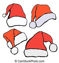Santa hat set. Vector illustration . Isolated on white