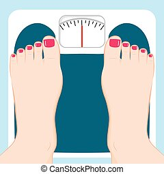 Weight Scale Feet - Close up of female feet standing on...