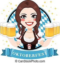 Oktoberfest Beer Waitress - Illustration of beautiful young...