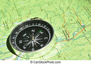 Dont get lost in the journey The magnetic compass lies on a...