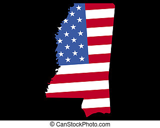 Map of Mississippi with flag - Map of the State of...