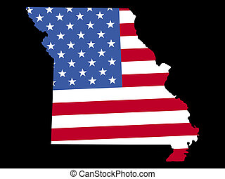 Map of Missouri with flag - Map of the State of Missouri and...