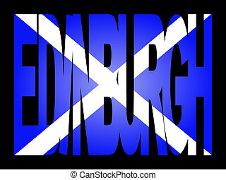 Edinburgh text with flag - overlapping Edinburgh text with...