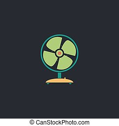 Fan computer symbol - Fan Color vector icon on dark...
