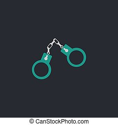 Handcuffs computer symbol - Handcuffs Color vector icon on...