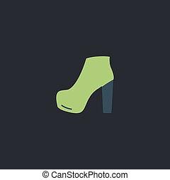 shoe computer symbol - shoe Color vector icon on dark...