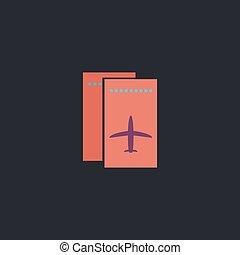 ticket plane computer symbol - ticket plane Color vector...