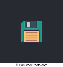Floppy disk computer symbol - Floppy disk Color vector icon...