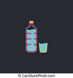 Plastic bottle computer symbol - Plastic bottle Color vector...