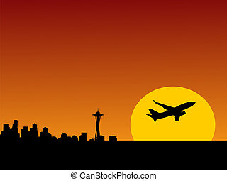 plane leaving Seattle - plane taking off at sunrise and...