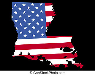 Map of Louisiana with flag - Map of the State of Louisiana...