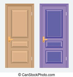 Vector colorful Closed Door with Frame Isolated on...