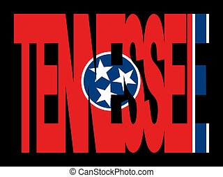 Tennessee text with flag - overlapping Tennessee text with...