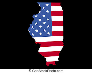 Map of Illinois with flag