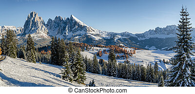 Seiser Alm, Dolomites meadow in winter - Panorama image of...