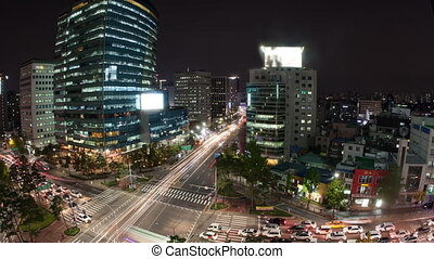 Timelapse of traffic on night busy Seoul streets, South...