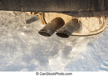 Icy car exhaust