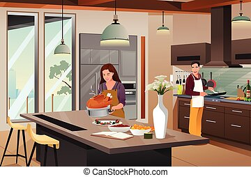 Couple Preparing For Thanksgiving Dinner in the Kitchen - A...