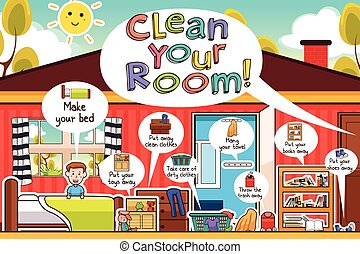Kids Cleaning Room Chores Infographic - A vector...