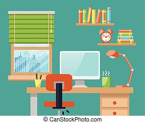 Office Workplace Flat Style Modern Design Vector...