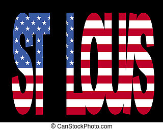 St Louis text with flag - overlapping St Louis text with...