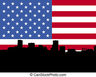 Baltimore with American flag