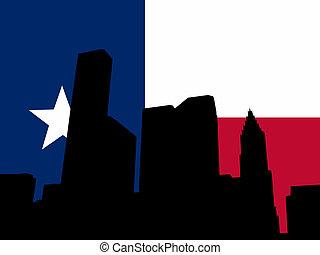 Houston skyline with Texan flag illustration