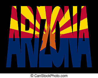 Arizona with their flag - overlapping Arizona text with...