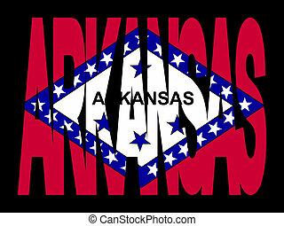 Arkansas text with their flag - overlapping Arkansas text...