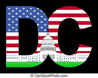 DC frame with Capitol building - DC text frame with Capitol...