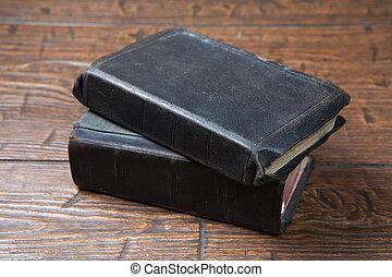 vendimia, viejo, Libros, en, Grunge, de madera, tabla