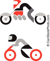 Motorcyclist Icons - Vector motorcyclist icons isolated on a...