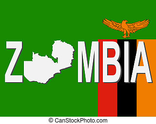 Zambia text with map on flag illustration