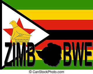 Zimbabwe text with map on flag illustration