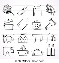 home kitchen equipment icons