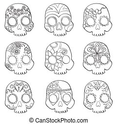 Set with mexican skulls