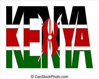 overlapping Kenya text with Kenyan flag illustration