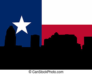 Austin Skyline with Texan flag illustration