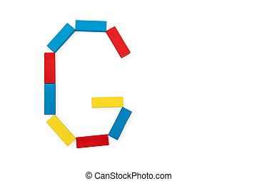 Letter G is folded of wooden blocks - Capital letter G made...